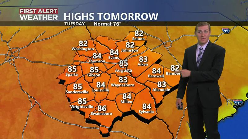 Temperatures will stay above average through the middle of the week. A few showers look...
