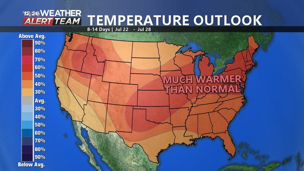 The majority of the USA will be feeling the heat over the next 8-14 days as temperatures are expected to be anywhere from 30 to 50% above average heading towards the end of July.