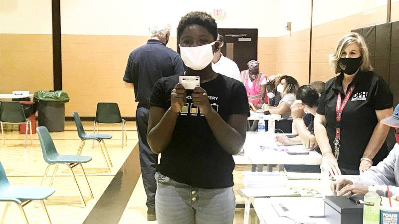 This person was among those getting a vaccination incentive card on Sept. 8 during a clinic at...