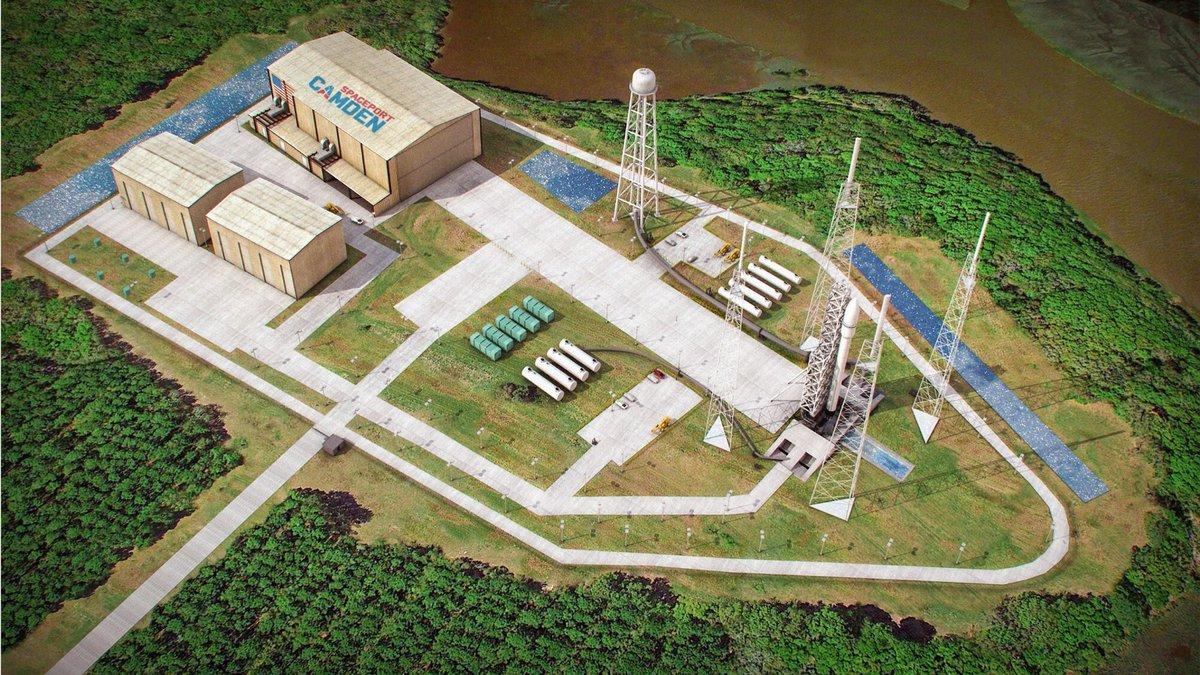 This artist's sketch provided by Spaceport Camden shows the launch pad complex of the proposed...