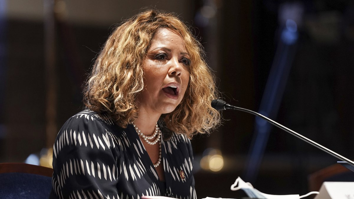 FILE - In this Wednesday, June 17, 2020, file photo, Rep. Lucy Kay McBath, D-Ga., speaks during...