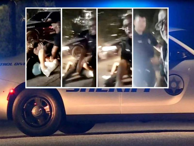 Deputy Leslie Gaiter rushes at a woman recording an arrest in a controversial video that went...