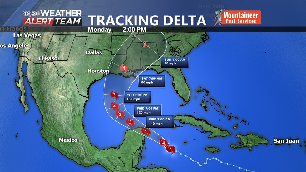 Delta is expected to make a US landfall later this week and bring heavy rain to the region this...