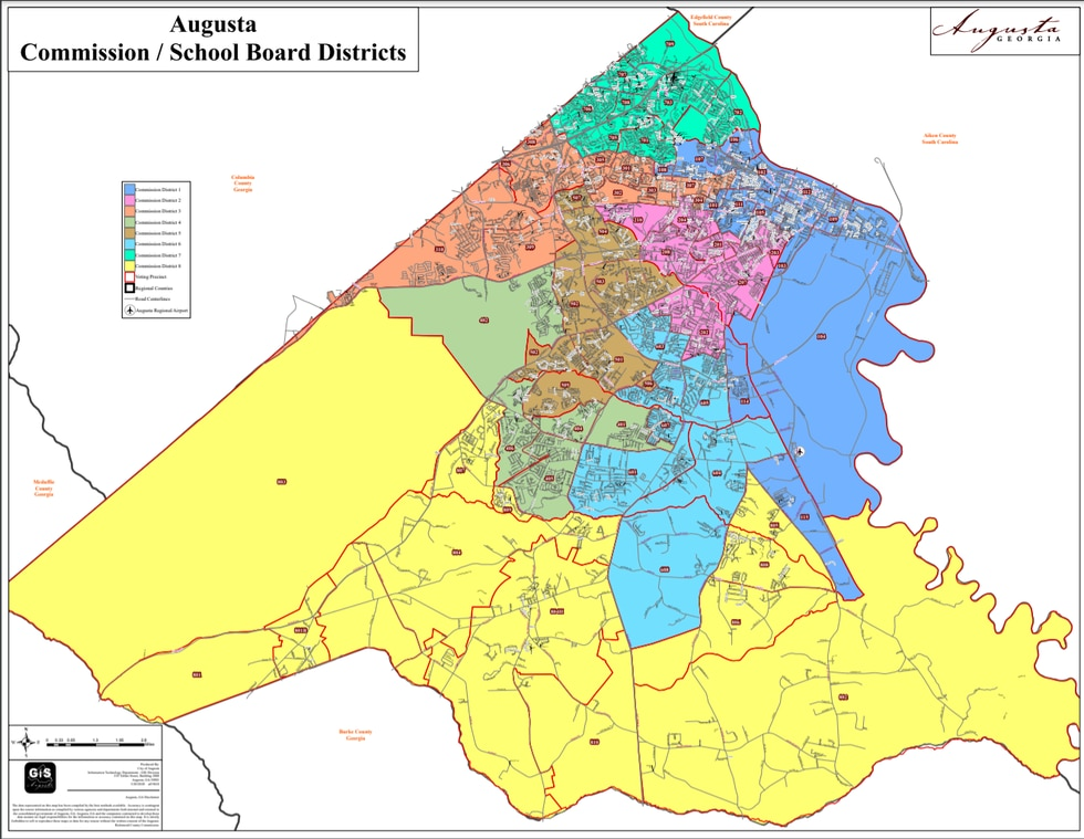 Augusta school board districts