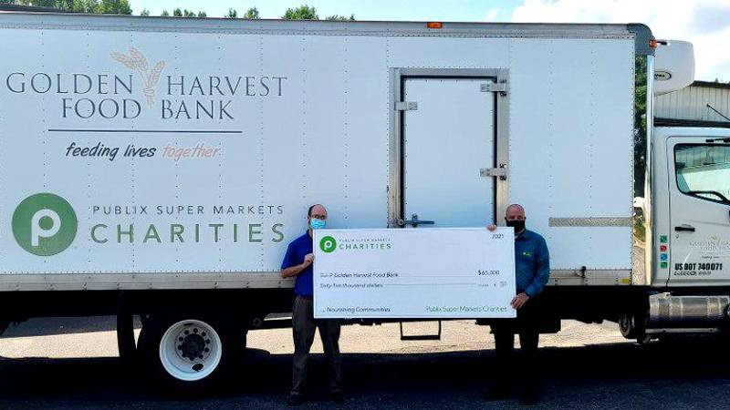 Golden Harvest Food Bank received $65,000 from Publix Charities and 320,493 pounds of produce...