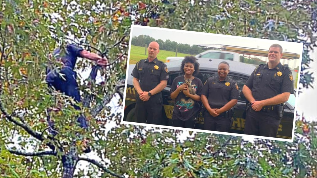 (Pictured from left) Sgt. Chris Treadwell (who  returned kitten Zeus back to his owner), Amya...