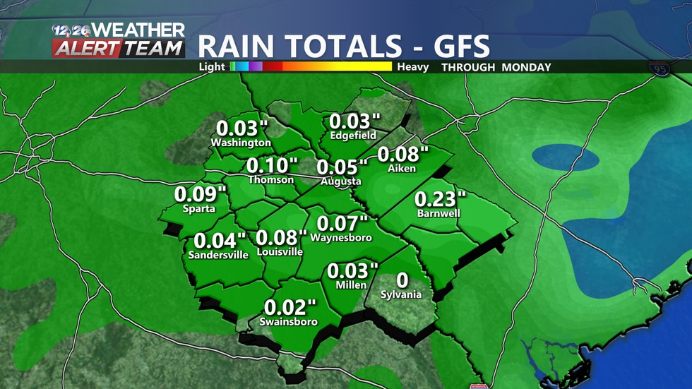Most areas look to pick up less than half an inch of rain through Monday.