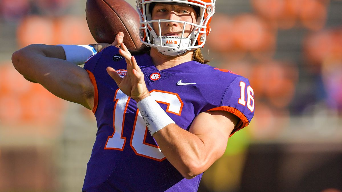Clemson quarterback Trevor Lawrence(16) warming up prior to the start of the NCAA football game...