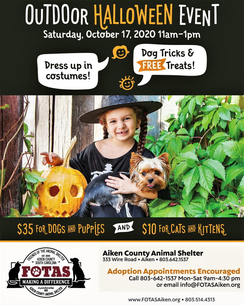 FOTAS is hosting an early Happy Halloween Event at the Aiken Animal Shelter.