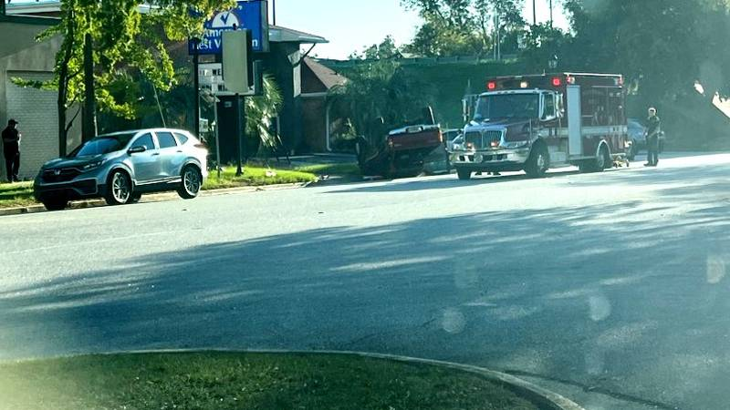A car overturned in a crash Monday morning in front of the Olde Towne Plaza on Broad Street in...