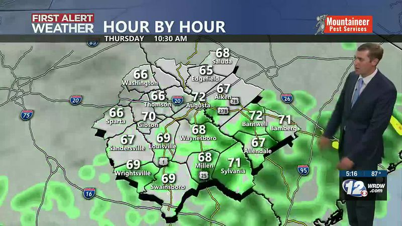 A front will move through the region Thursday brining the chance for showers tonight into...
