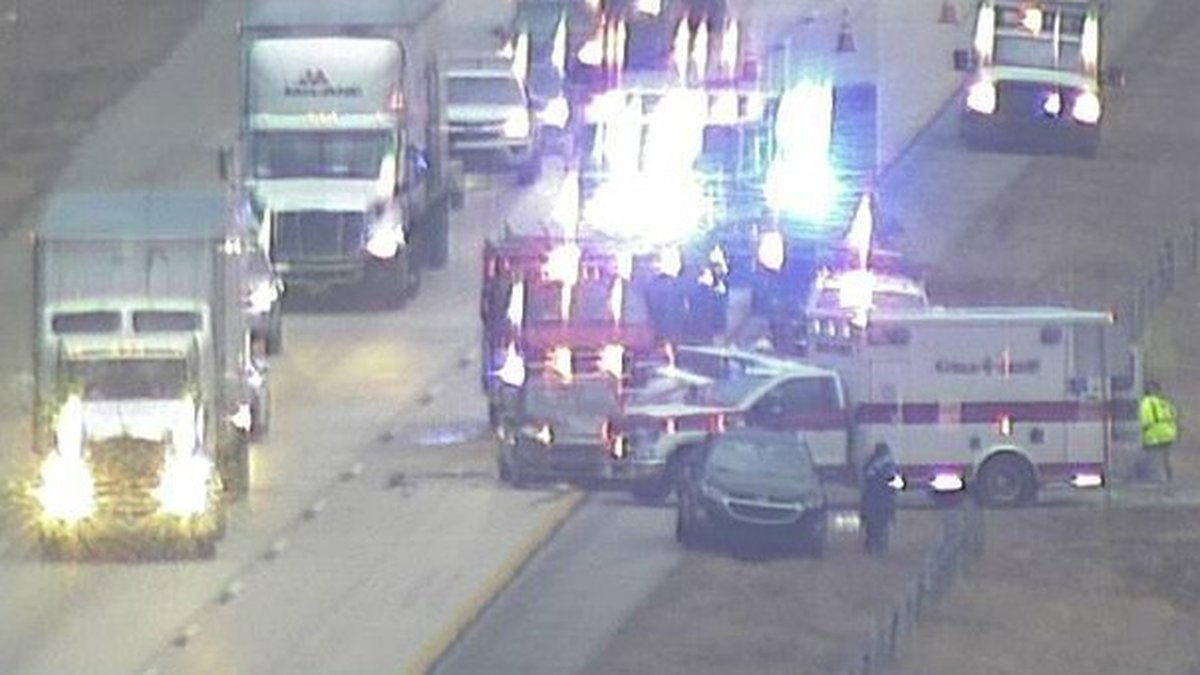 This GDOT traffic camera shows rescue operations taking place at 8:15 a.m. Jan. 27, 2021, on...