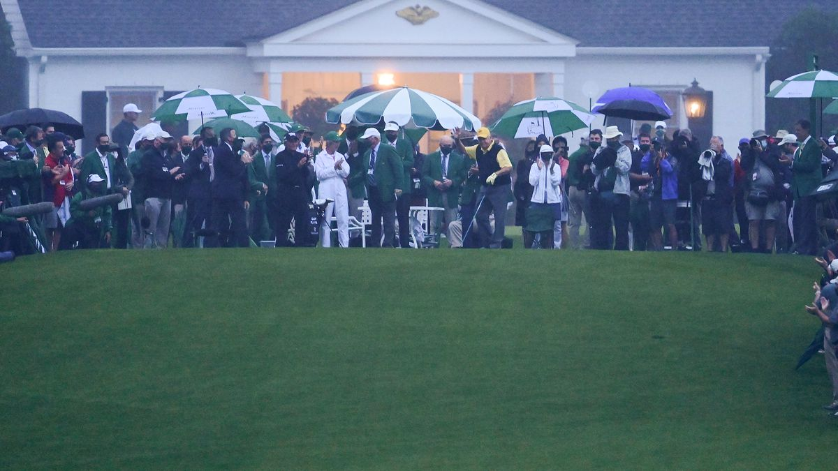 Honorary Starters and Masters champions Gary Player of South Africa and Jack Nicklaus stand on...