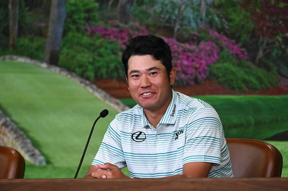 Hideki Matsuyama, speaks with the media during the 2021 Masters Tournament at Augusta National...