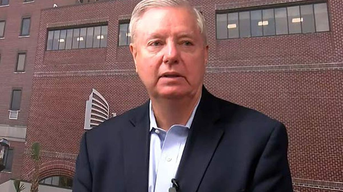 U.S. Sen. Lindsey Graham answered a question about his appearance on Fox News after touring an...