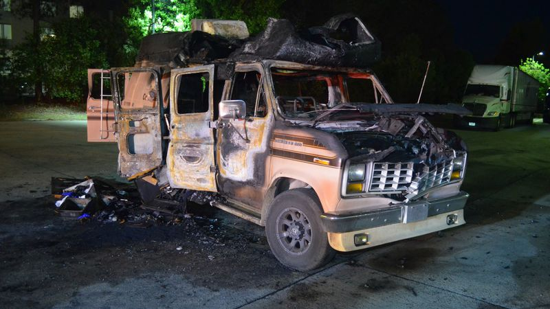 An explosion and fire in Columbia County destroyed this 1988 Econoline van and left its...