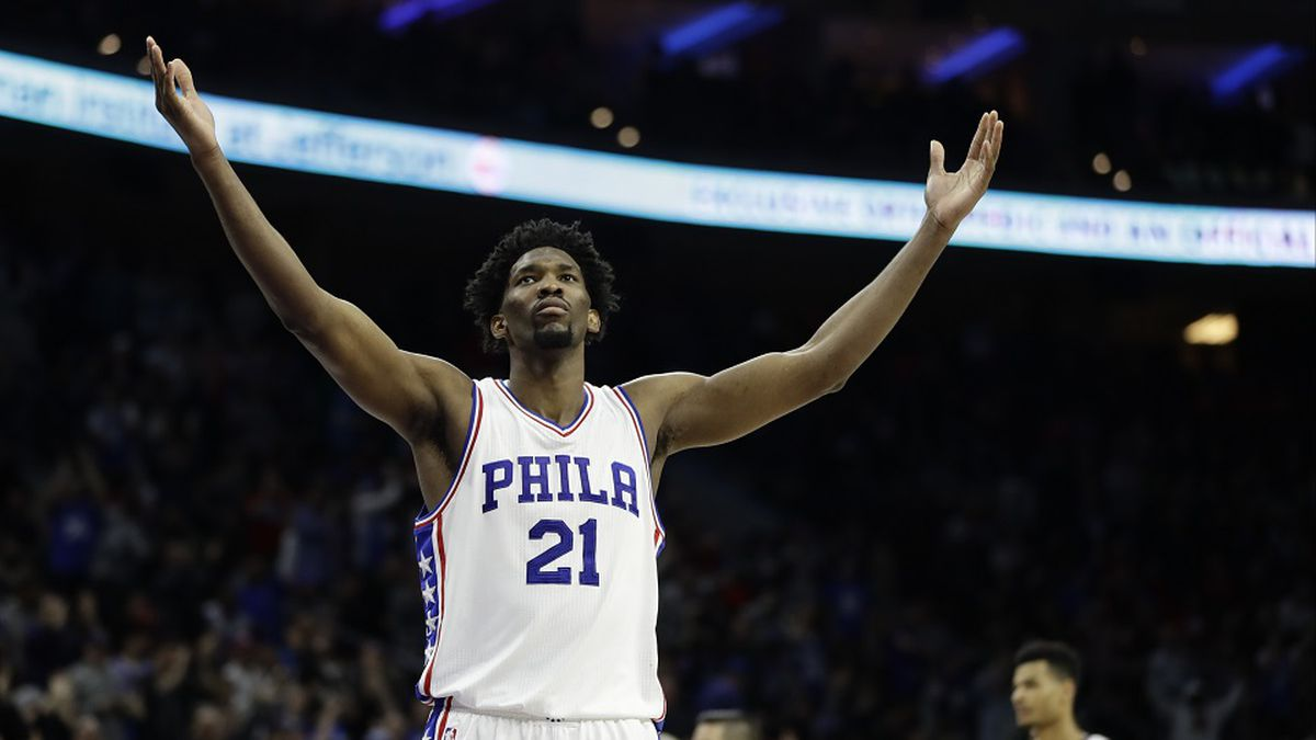 Philadelphia 76ers' Joel Embiid in action during an NBA basketball game against the Houston...