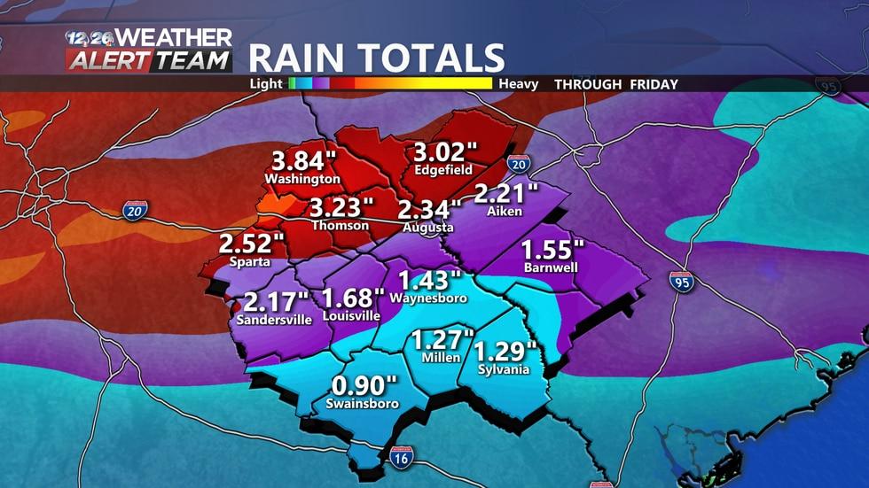 Forecast rainfall accumulations around the CSRA through Friday morning.