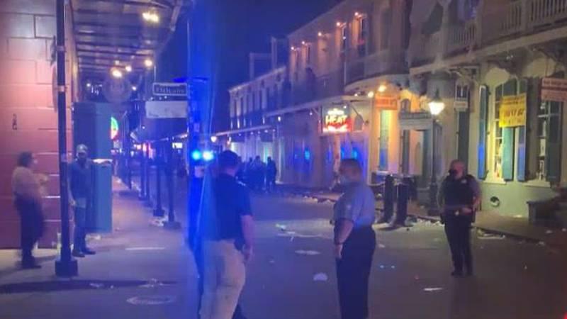 Five people were shot on Bourbon Street on Sunday.