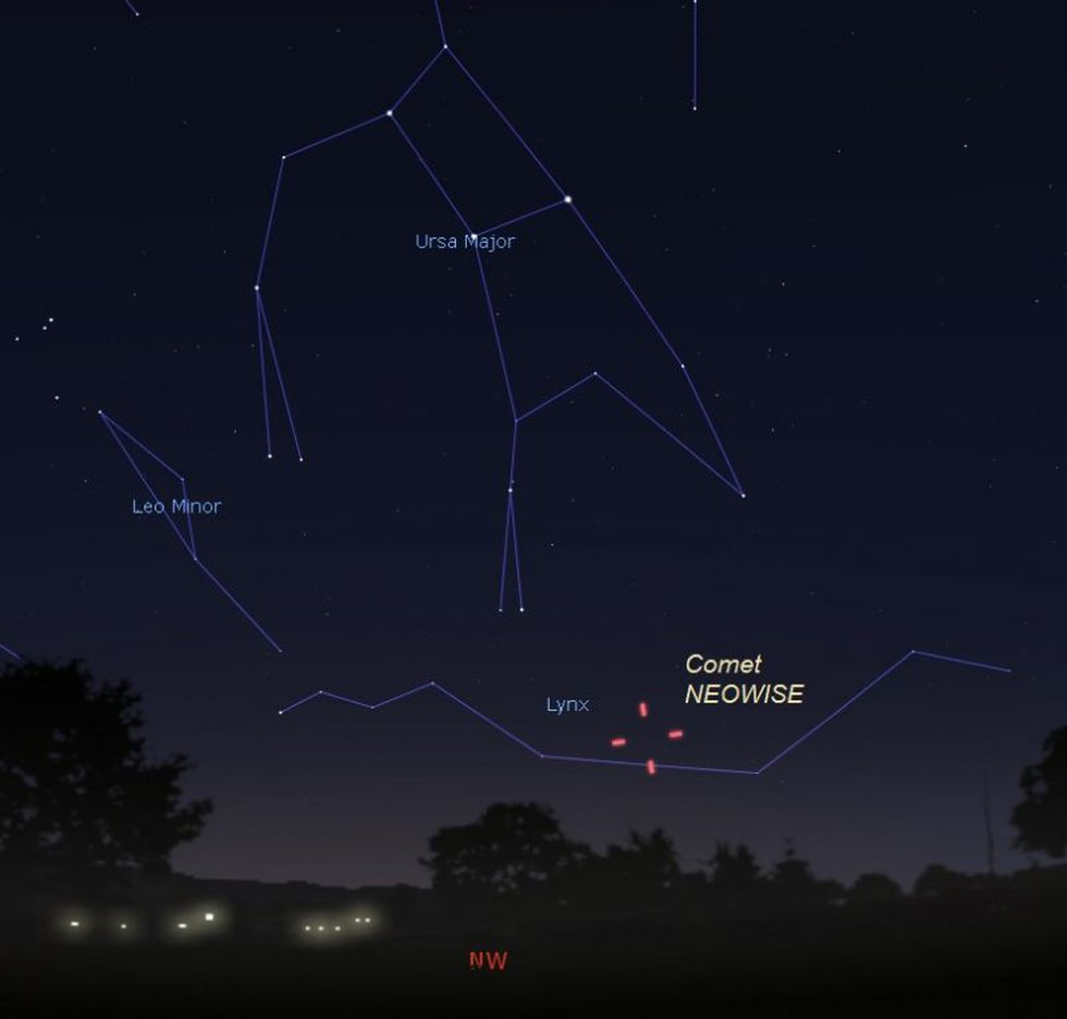 By mid July (around July 12-15) comet NEOWISE will appear early in the evening sky. This illustration shows the location of the comet on July 15, 2020 as seen from the central U.S. facing northwest just after sunset. Illustration by Eddie Irizarry using Stellarium.