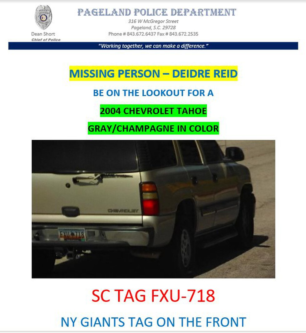 Reid was driving a gray, 2004 Chevy Tahoe with the South Carolina license plate number FXU718....