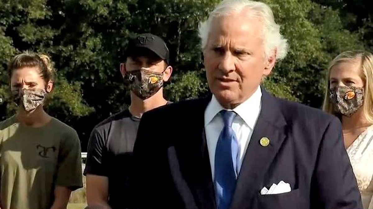 South Carolina Gov Henry McMaster announces the donation of 200,000 face masks on Oct. 8, 2020.