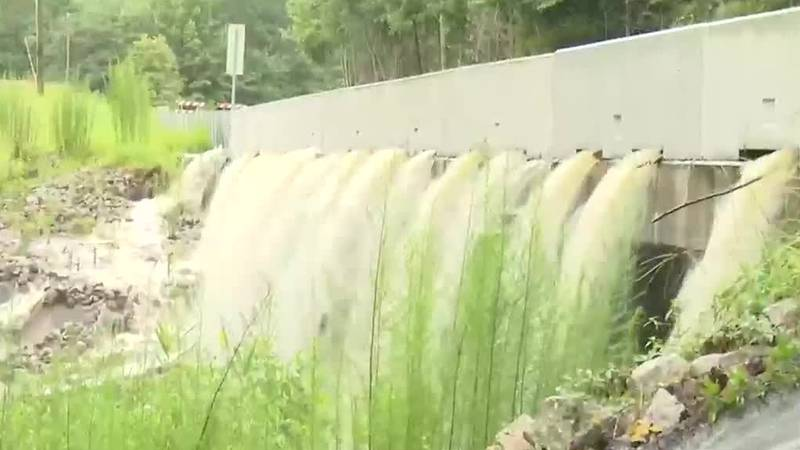 Incredible video out of Aiken County where a bridge is currently overflowing with water for...
