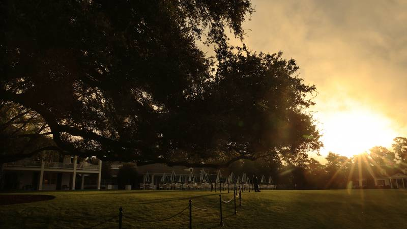 The Clubhouse is seen in the early morning hours during Practice Round 3 for the Masters at...