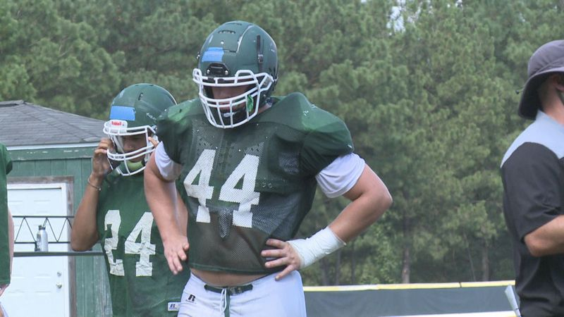 Greenbrier's Beau Shugarts gets ready for the next rep during a recent practice.