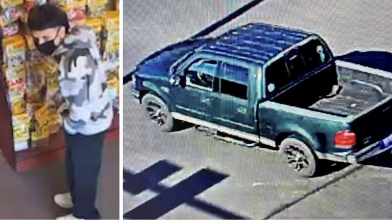 These photos of the suspected robber and his vehicle were released by the Grovetown Department...