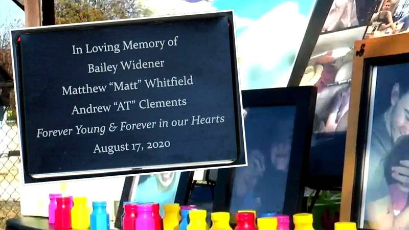 A bench at Evans Towne Center Park bears the names of three local teenagers who died in a...