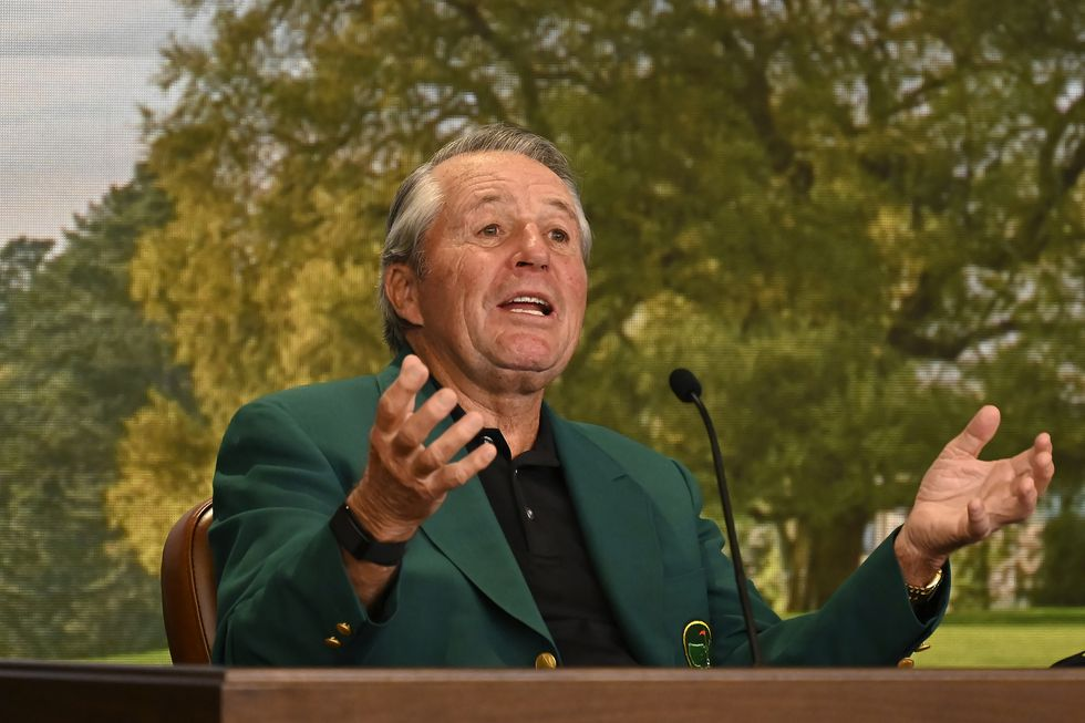 Honorary Starter Masters champion Gary Player of South Africa speaks at a news briefing during...