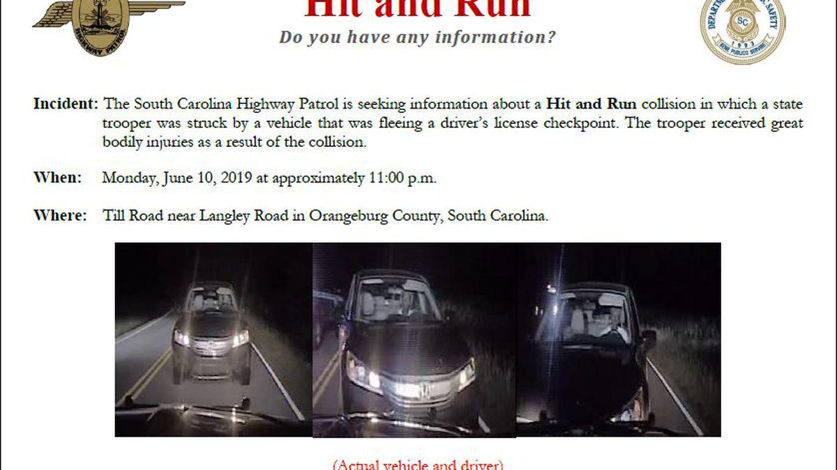 This car, a 2016 Honda Accord, struck a South Carolina Highway Patrol trooper on Monday night. (Source: WRDW)