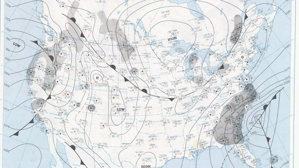 The surface map from February 10th, 1973 showing a strong area of low pressure off the...