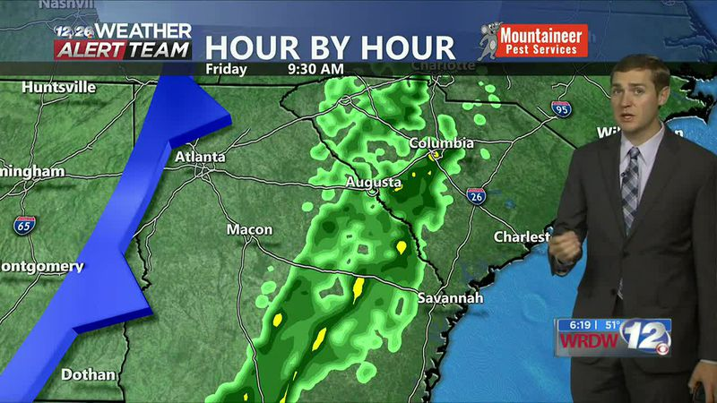 Cold front brings a line of showers to the CSRA for the first half of our Friday. Looking gusty...