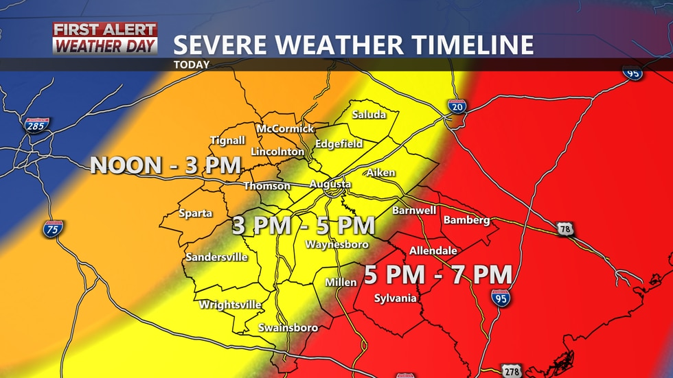 A timeline for anticipated severe weather impacts today. Timing could be adjusted depending on...