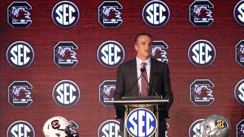 University of South Carolina head coach Shane Beamer speaks to the media during the 2021 SEC...