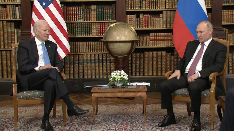 President Joe Biden and Russian President Vladimir Putin meet during their summit in Geneva,...