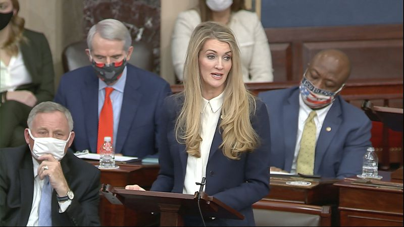 In this image from video, Sen. Kelly Loeffler, R-Ga., speaks as the Senate reconvenes after...