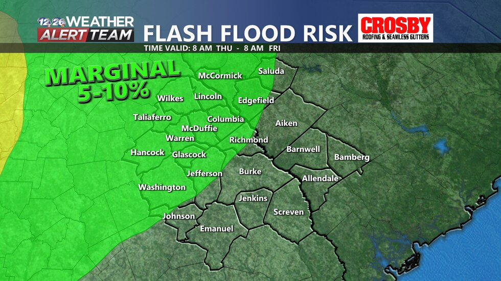 The Weather Prediction Center has placed many CSRA counties under a low flash flood threat late...