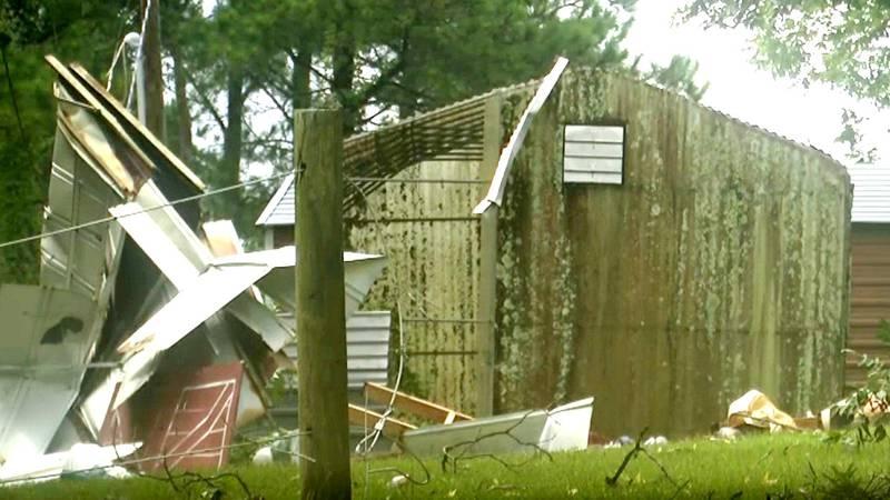Tornado damage in Edgefield County on Aug. 17, 2021.