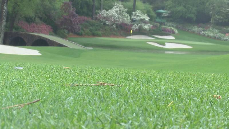 Azaleas in bloom at Amen Corner at the Augusta National Golf Club.