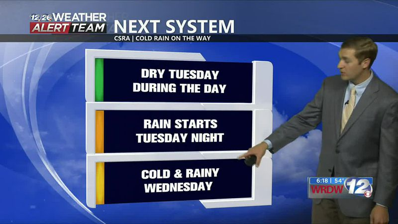 Staying dry tonight and through Tuesday afternoon. Two areas of low pressure bring rain between...