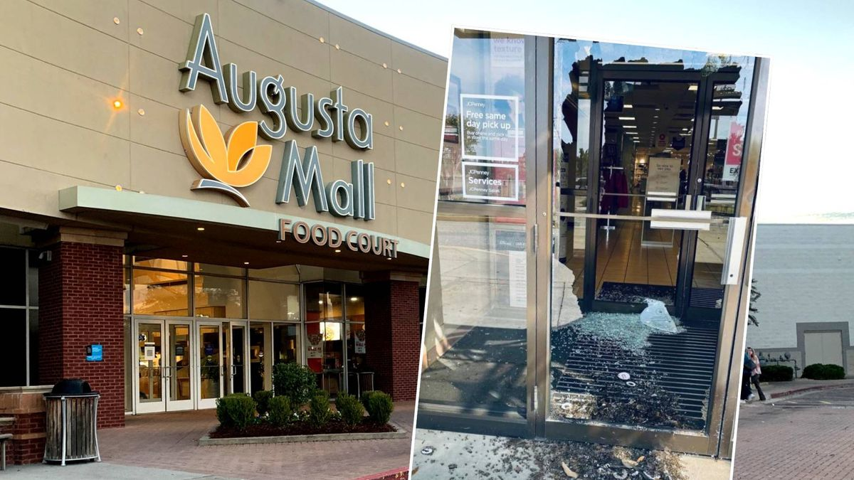 The glass door at J.C. Penney remains shattered after a reported burglary