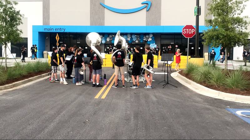 The first employees are welcomed at the Amazon fulfillment center in Appling on Sept. 8, 2021.