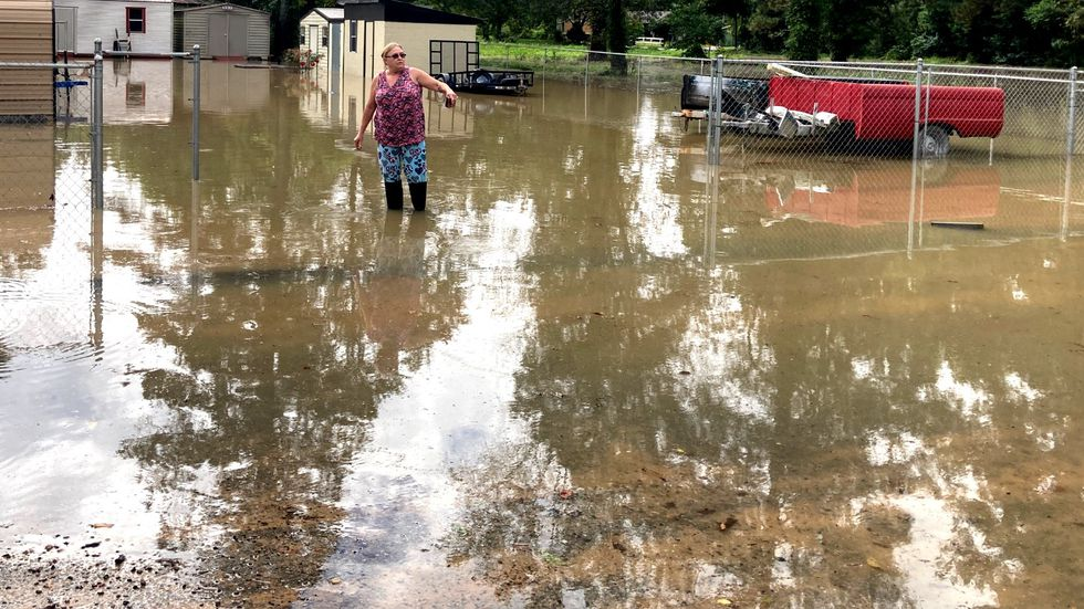This yard was flooded on the morning of Sept. 17, 2020, on Wimberly Drive off Peach Orchard Road.