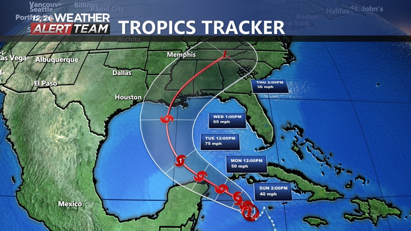 Potential track of Tropical Depression #28 as it increases strength over the next few days.