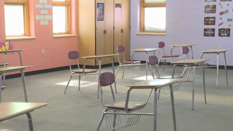 The desks in Portage High School English teacher Nicole Giessel's class are socially distanced.