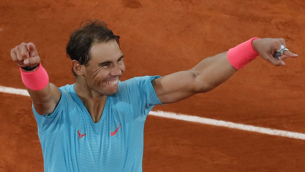 Spain's Rafael Nadal celebrates winning the final match of the French Open tennis tournament against Serbia's Novak Djokovic in three sets, 6-0, 6-2, 7-5, at the Roland Garros stadium in Paris, France, Sunday, Oct. 11, 2020.