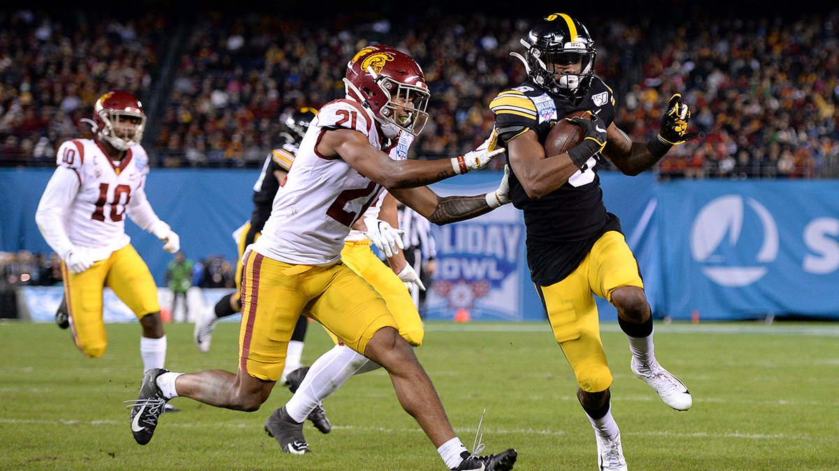 Iowa wide receiver Ihmir Smith-Marsette, right, scores a touchdown ahead of Southern California...